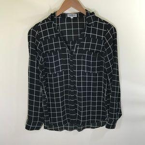 EXPRESS Black and White Checkered Portofino Shirt